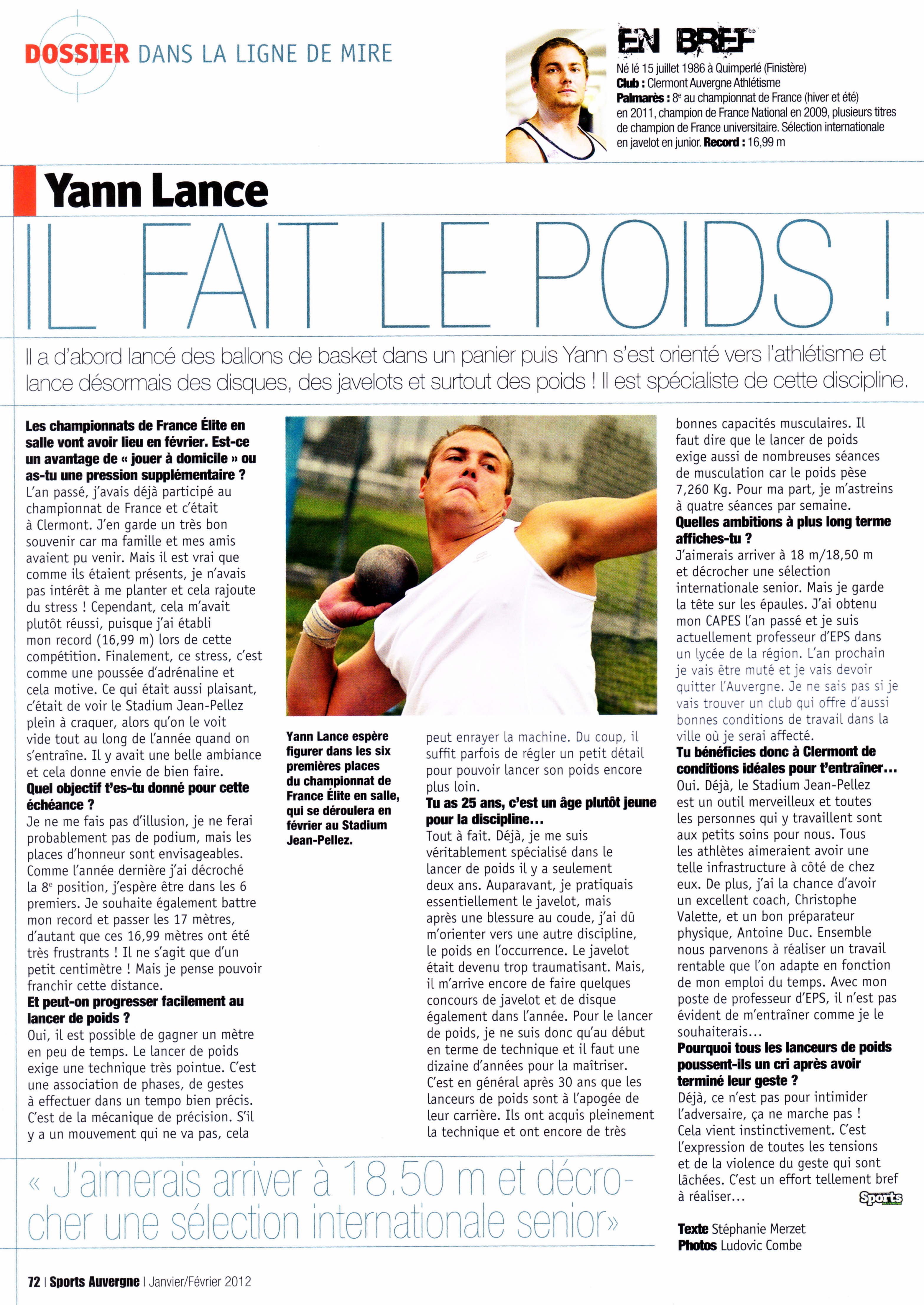 Interview Yann - Sports Auvergne