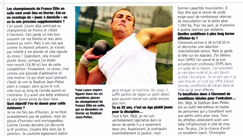 Interview Yann dans Sports Auvergne